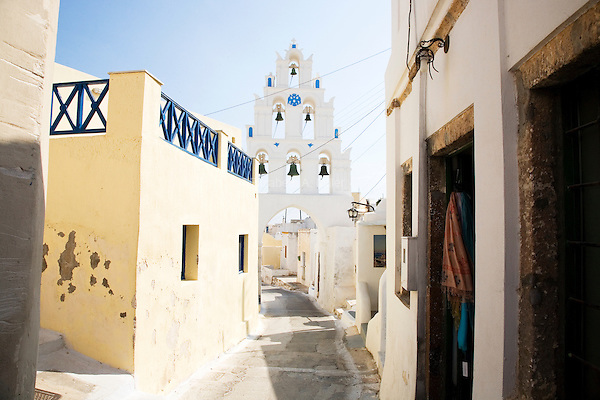 The town of Megalochori in Santorini, Greece on July 7, 2013.