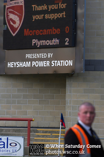 Morecambe 0 Plymouth Argyle 2, 25/03/2016. Globe Arena, League 2. The stadium scoreboard displays the final score as Morecambe hosted Plymouth Argyle in a League 2 fixture at the Globe Arena. The stadium was opened in 2010 and replaced Morecambe's traditional home of Christie Park which had been their home since 1921, the year after their foundation. Plymouth won this fixture by 2-0 watched by 2,081 spectators, in a game delayed by 30 minutes due to traffic congestion affecting travelling Argyle fans. Photo by Colin McPherson.