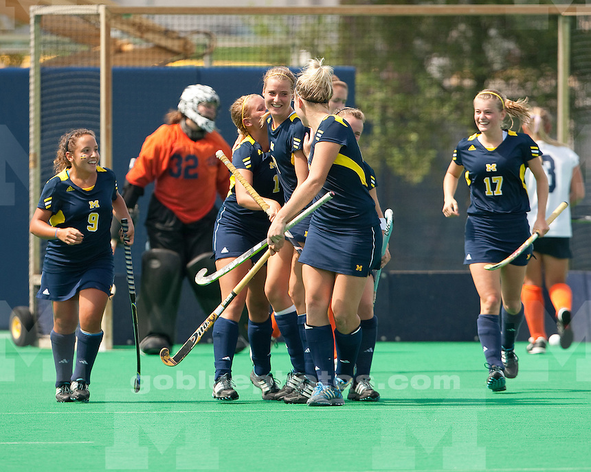 The University of Michigan field hockey team beat Bucknell 5-0 at Ocker Field in in Ann Arbor, Mich., on September 11, 2011.