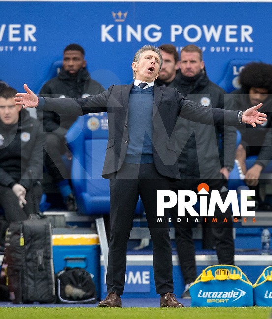 Leicester City manager Claude Puel during the Premier League match between Leicester City and Manchester United at the King Power Stadium, Leicester, England on 3 February 2019. Photo by Andy Rowland.