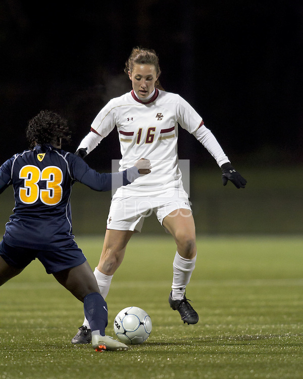 """Boston College forward Brooke Knowlton (16) dribbles down the wing. Boston College defeated West Virginia, 4-0, in NCAA tournament """"Sweet 16"""" match at Newton Soccer Field, Newton, MA."""