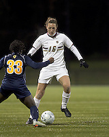 "Boston College forward Brooke Knowlton (16) dribbles down the wing. Boston College defeated West Virginia, 4-0, in NCAA tournament ""Sweet 16"" match at Newton Soccer Field, Newton, MA."
