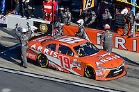 19-20 February, 2016, Daytona Beach, Florida USA<br /> Daniel Suarez, ARRIS Toyota Camry makes a pit stop.<br /> ©2016, F. Peirce Williams