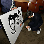 CORAL GABLES, FL - MARCH 05: Ignazio Boschetto of IL Volo with Artist Fabio Ingrassia backstage during a meet and greet at Bank United Center on Saturday March 05, 2016 in Miami, Florida. ( Photo by Johnny Louis / jlnphotography.com )