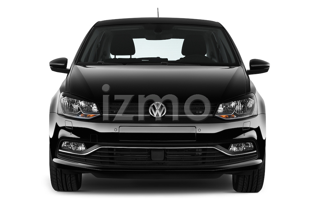 Car photography straight front view of a 2014 Volkswagen POLO SPORTLINE 5 Door Hatchback 2WD Front View
