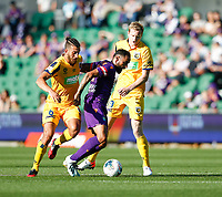 3rd November 2019; HBF Park, Perth, Western Australia, Australia; A League Football, Perth Glory versus Central Coast Mariners; Diego Castro of the Perth Glory keeps the ball against Giancarlo Gallifuoco of the Central Coast Mariners - Editorial Use