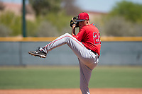 Los Angeles Angels relief pitcher Cole Duensing (22) during a Minor League Extended Spring Training game against the Chicago Cubs at Sloan Park on April 14, 2018 in Mesa, Arizona. (Zachary Lucy/Four Seam Images)
