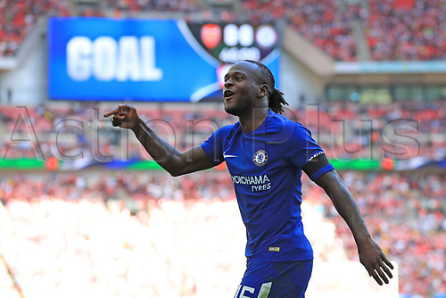 August 6th 2017, Wembley Stadium, London, England; FA Community Shield Final, Arsenal versus Chelsea; Victor Moses of Chelsea celebrates after he scores making it 0-1