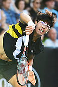 9th January 2018, ASB Tennis Centre, Auckland, New Zealand; ASB Classic, ATP Mens Tennis;  Hyeon Chung (KOR) during the ASB Classic ATP Men's Tournament Day 2
