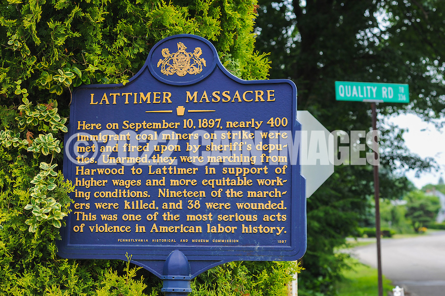 HAZLETON, PA - JUNE 30:  Signage at the site of an archaeologic dig June 30, 2014 in Hazleton, Pennsylvania. The team is looking through sites connected with the Lattimer Massacre which occurred in 1897. (Photo by William Thomas Cain/Cain Images)