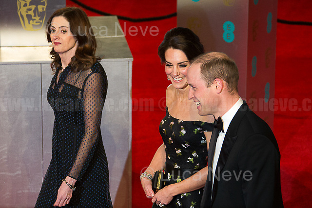 Prince William (Duke of Cambridge), Kate Middleton (Duchess of Cambridge) & Amanda Berry (Chief Executive of the British Academy of Film and Television Arts, BAFTA).<br />