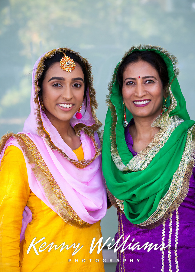 Two Indian Women Wearing Traditional Clothing, Renton Multicultural Festival 2017, WA, USA.