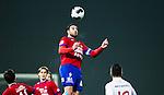 S&ouml;dert&auml;lje 2014-11-09 Fotboll Kval till Superettan Assyriska FF - &Ouml;rgryte IS :  <br /> &Ouml;rgrytes George Mourad med en nick under matchen mellan Assyriska FF och &Ouml;rgryte IS <br /> (Foto: Kenta J&ouml;nsson) Nyckelord:  S&ouml;dert&auml;lje Fotbollsarena Kval Superettan Assyriska AFF &Ouml;rgryte &Ouml;IS portr&auml;tt portrait