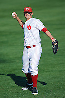Max White (7) warms up during the NCAA matchup between the University of Arkansas-Little Rock Trojans and the University of Oklahoma Sooners at L. Dale Mitchell Park in Norman, Oklahoma; March 11th, 2011.  Oklahoma won 11-3.  Photo by William Purnell/Four Seam Images