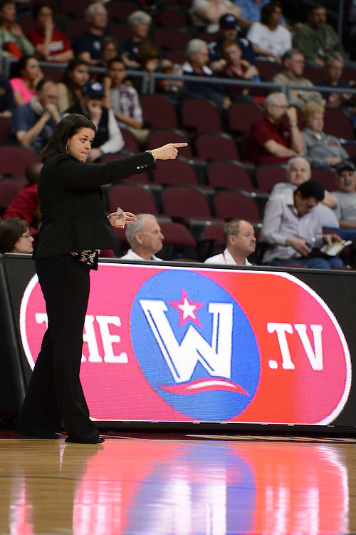 March 6, 2014; Las Vegas, NV, USA; Loyola Marymount Lions head coach Charity Elliott instructs against the San Francisco Lady Dons during the first half of the WCC Basketball Championships at Orleans Arena.