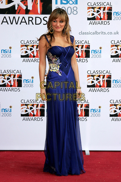 NICOLA BENEDETTI.Arrivals for the Classical Brit Awards 2008 held at the Royal Albert Hall, London, England, UK..May 8th, 2008.full length blue purple dress floral pattern flower beads beaded .CAP/AH.©Adam Houghton/Capital Pictures.