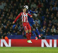 Atletico Madrid's Fernando Torres and Leicester City's Wilfred Ndidi<br /> <br /> Photographer Stephen White/CameraSport<br /> <br /> UEFA Champions League Quarter Final Second Leg - Leicester City v Atletico Madrid - Tuesday 18th April 2017 - King Power Stadium - Leicester <br />  <br /> World Copyright &copy; 2017 CameraSport. All rights reserved. 43 Linden Ave. Countesthorpe. Leicester. England. LE8 5PG - Tel: +44 (0) 116 277 4147 - admin@camerasport.com - www.camerasport.com