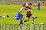 St Brendan's Park's James Duggan and Fairview's Kyle Brogan.