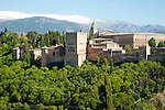 Snow capped peaks of the Sierra Nevada mountains and the Alhambra, Granada, Spain