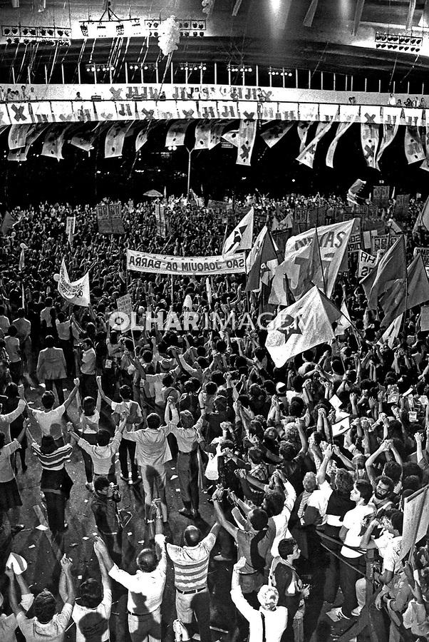 Comício por eleições Diretas Já  no Anhangabaú. SP. 1984. Foto de Juca Martins.
