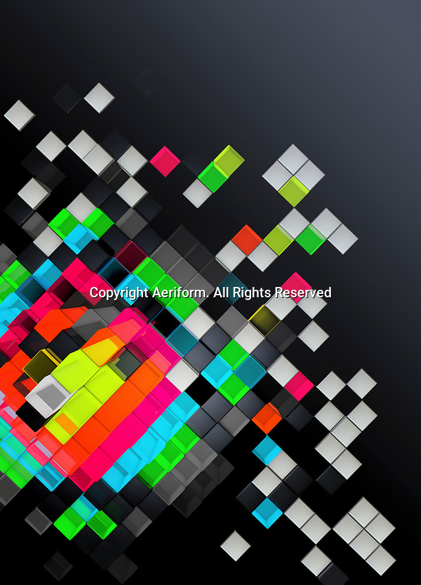 Tilted abstract geometric pattern of multicolored cubes