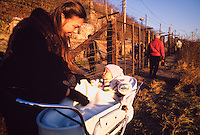 December 10, 1989. Bratislava/Devin, Czechoslovakia. A Slovak mother takes her baby to a vist at the now defunct Iron Curtain at the border to Austria. (Photo Heimo Aga)