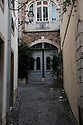 Lisbon, Portugal. 15.04.2016. Narrow entrance to house in Alfama, Lisbon. Photograph © Jane Hobson.