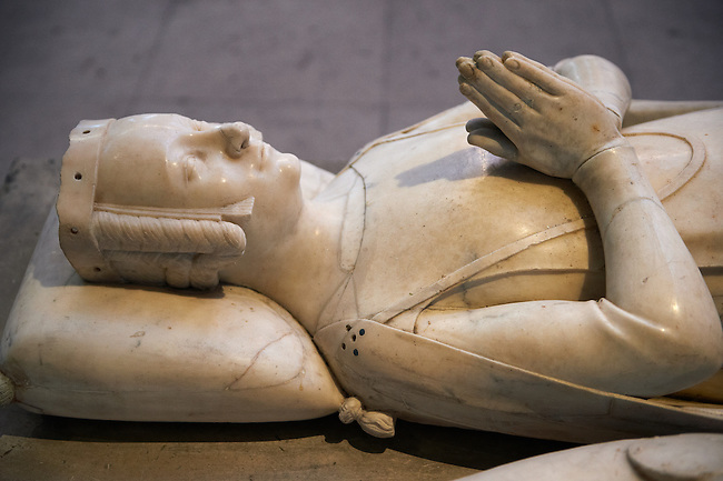 Tomb of  Marie of Spain ( 1379) wife of Charoes Count of Alencon daughter of Ferdinand II of Spain . The Gothic Cathedral Basilica of Saint Denis ( Basilique Saint-Denis ) Paris, France. A UNESCO World Heritage Site.