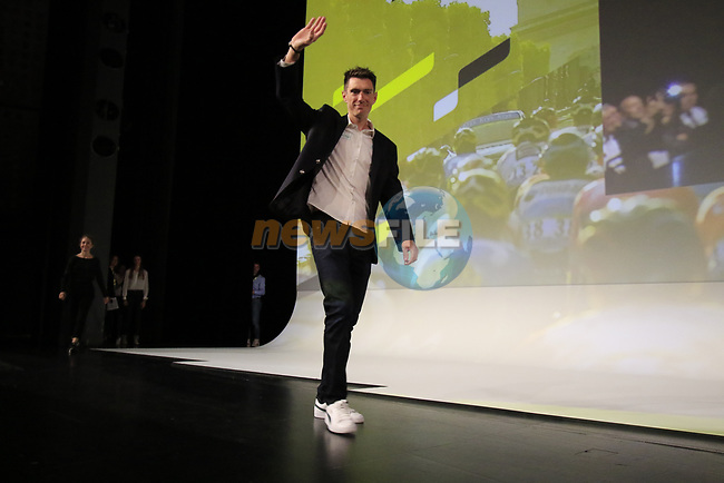 Pierre Rolland (FRA) introduced on stage at the Tour de France 2020 route presentation held in the Palais des Congrès de Paris (Porte Maillot), Paris, France. 15th October 2019.<br /> Picture: Eoin Clarke | Cyclefile<br /> <br /> All photos usage must carry mandatory copyright credit (© Cyclefile | Eoin Clarke)