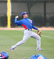Kosuke Fukodome #1 of the Chicago Cubs warms up during spring training workouts at the Cubs complex on February 19, 2011  in Mesa, Arizona. .Photo by Bill Mitchell / Four Seam Images.