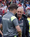 2-7-2017: Eamonn Fitzmaurice and Peadar Healy pictured after  the Kerry V Cork Munster Football final in Killarney on Sunday.<br /> Photo: Don MacMonagle