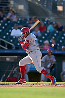 Clearwater Threshers Jhailyn Ortiz (26) avoids an inside pitch during a Florida State League game against the Palm Beach Cardinals on August 10, 2019 at Roger Dean Chevrolet Stadium in Jupiter, Florida.  Clearwater defeated Palm Beach 11-4.  (Mike Janes/Four Seam Images)