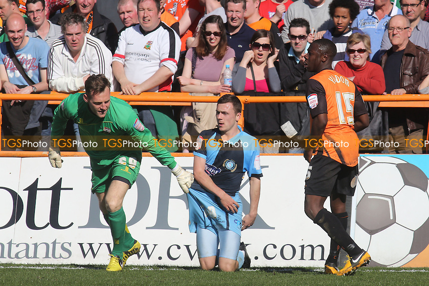 Graham Stack of Barnet & Wycombe's Josh Scowen - Barnet vs Wycombe Wanderers - NPower Division Two Football at Underhill - 20/04/13 - MANDATORY CREDIT: Paul Dennis/TGSPHOTO - Self billing applies where appropriate - 0845 094 6026 - contact@tgsphoto.co.uk - NO UNPAID USE.