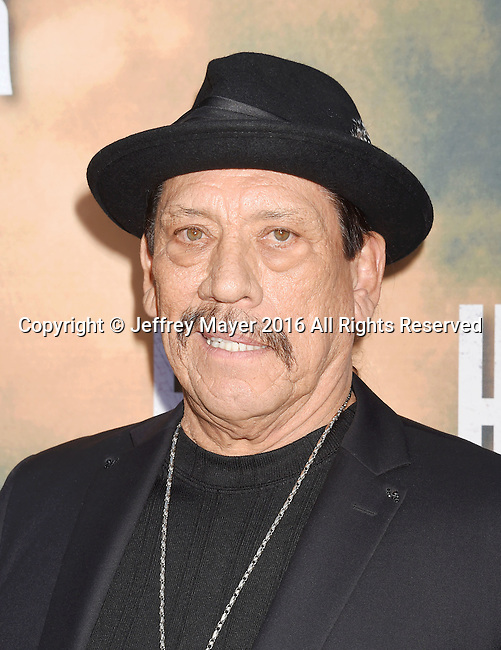 HOLLYWOOD, CA - AUGUST 10: Actor Danny Trejo arrives at the screening of CBS Films' 'Hell Or High Water' at ArcLight Hollywood on August 10, 2016 in Hollywood, California.