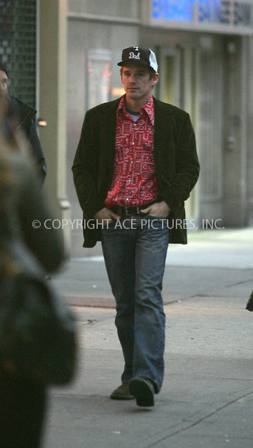 WWW.ACEPIXS.COM . . . . . ..***EXCLUSIVE!!! FEE MUST BE NEGOTIATED BEFORE USE!!!***....NEW YORK, OCTOBER 25, 2004....Ethan Hawke was spotte in the Chelsea district of NYC.....Please byline: BRIAN FLANNERY - ACE PICTURES.. . . . . . ..Ace Pictures, Inc:  ..Alecsey Boldeskul (646) 267-6913 ..Philip Vaughan (646) 769-0430..e-mail: info@acepixs.com..web: http://www.acepixs.com