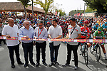 Cutting the ribbon for the start of Stage 8 of the 2017 La Vuelta, running 199.5km from Hell&iacute;n to Xorret de Cat&iacute;. Costa Blanca Interior, Spain. 26th August 2017.<br /> Picture: Unipublic/&copy;photogomezsport | Cyclefile<br /> <br /> <br /> All photos usage must carry mandatory copyright credit (&copy; Cyclefile | Unipublic/&copy;photogomezsport)