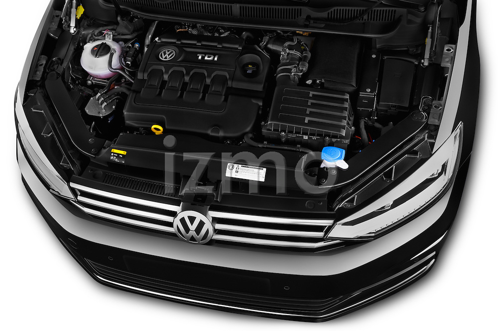 Car Stock 2016 Volkswagen Touran Highline 5 Door Mini Mpv Engine high angle detail view