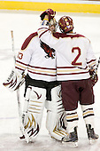 Chris Gherlone (BC - 33), Jon Rather (BC - 2) - The Boston College Eagles defeated the Bryant University Bulldogs 2-1 on Saturday, December 11, 2010, at Conte Forum in Chestnut Hill, Massachusetts.
