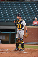 ***Temporary Unedited Reference File***Montgomery Biscuits catcher Mike Marjama (8) during a game against the Chattanooga Lookouts on May 2, 2016 at AT&T Field in Chattanooga, Tennessee.  Chattanooga defeated Montgomery 9-6.  (Mike Janes/Four Seam Images)