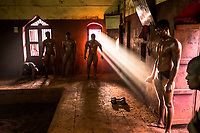 Kushti wrestlers train at Gangavesh Talim on the 18th of September, 2017 in Kolhapur, India.  <br /> Photo Daniel Berehulak for Lumix