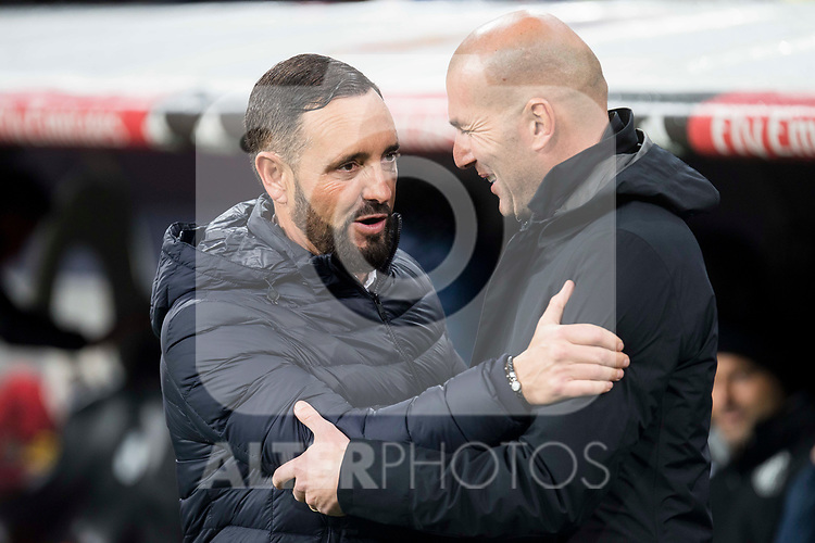 Real Madrid coach Zinedine Zidane Getafe coach Jose Bordalas during La Liga match between Real Madrid and Getafe CF  at Santiago Bernabeu Stadium in Madrid , Spain. March 03, 2018. (ALTERPHOTOS/Borja B.Hojas)