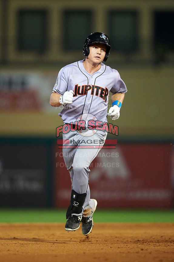 Jupiter Hammerheads left fielder Dexter Kjerstad (25) running the bases after hitting a home run during a game against the Palm Beach Cardinals on August 12, 2016 at Roger Dean Stadium in Jupiter, Florida.  Jupiter defeated Palm Beach 9-0.  (Mike Janes/Four Seam Images)
