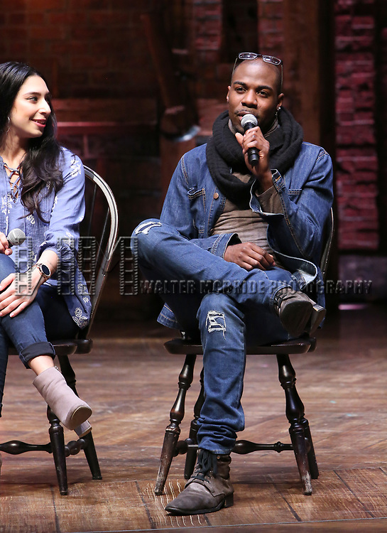 "Lauren Boyd and Justin Dine Bryant during the  #EduHam matinee performance Q & A for ""Hamilton"" at the Richard Rodgers Theatre on 3/28/2018 in New York City."
