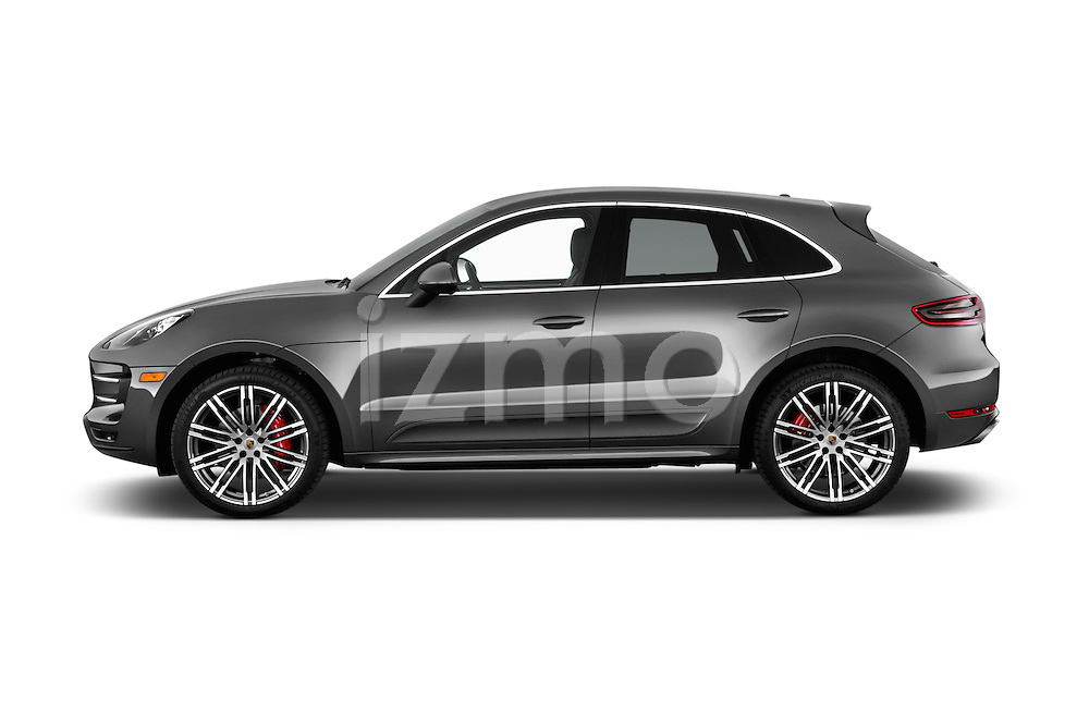 Car driver side profile view of a 2015 Porsche Macan Turbo 5 Door SUV