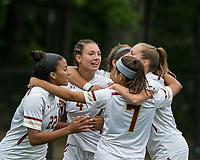 Newton, Massachusetts - September 23, 2018: NCAA Division I. Boston College (white) defeated Florida State University (garnet), 2-1, at Newton Campus Soccer Field.<br /> Jenna Bike celebrates her goal with teammates.