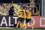 Nederland, Venlo, 9 december  2012.Eredivisie.Seizoen 2012/2013.VVV-VItesse 3-1.Bryan Linssen, Bobby Cullen en Yuki Otsu van VVV vieren de 3-1 overwinning op Vitesse