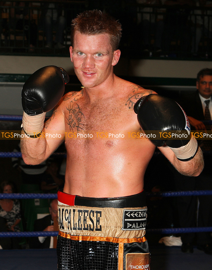 Pat McAleese (multicoloured shorts) defeats Geraint Harvey in a Light-Middleweight boxing contest at York Hall, Bethnal Green, promoted by Miranda Carter / Left Jab Promotions - 13/09/09 - MANDATORY CREDIT: Gavin Ellis/TGSPHOTO - Self billing applies where appropriate - Tel: 0845 094 6026