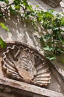 Europe/Europe/France/Midi-Pyrénées/46/Lot/Carennac: Détail Coquille Saint-Jacques sur la porte d'une maison du village - Plus Beaux Villages de France