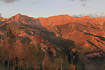 Sunset view from Telluride Mountain, San Juan Mountains at sunset, Colorado.