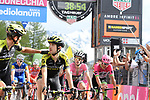 Race leader Maglia Rosa Simon Yates (GBR) Mitchelton-Scott loses 38 minutes as he crosses the finish line of Stage 19 of the 2018 Giro d'Italia, running 185km from Venaria Reale to Bardonecchia featuring the Cima Coppi of this Giro, the highest climb on the Colle delle Finestre with its gravel roads, before finishing on the final climb of the Jafferau, Italy. 25th May 2018.<br /> Picture: LaPresse/Fabio Ferrari | Cyclefile<br /> <br /> <br /> All photos usage must carry mandatory copyright credit (&copy; Cyclefile | LaPresse/Fabio Ferrari)